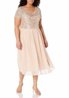 Adrianna Papell Women's Tea Length Beaded Dress with Metallic Mesh Bodice Plus Size  14W