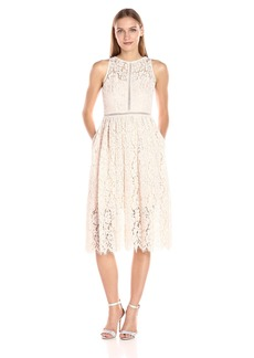 Adrianna Papell Women's Tea Length Halter Lace Party Dress