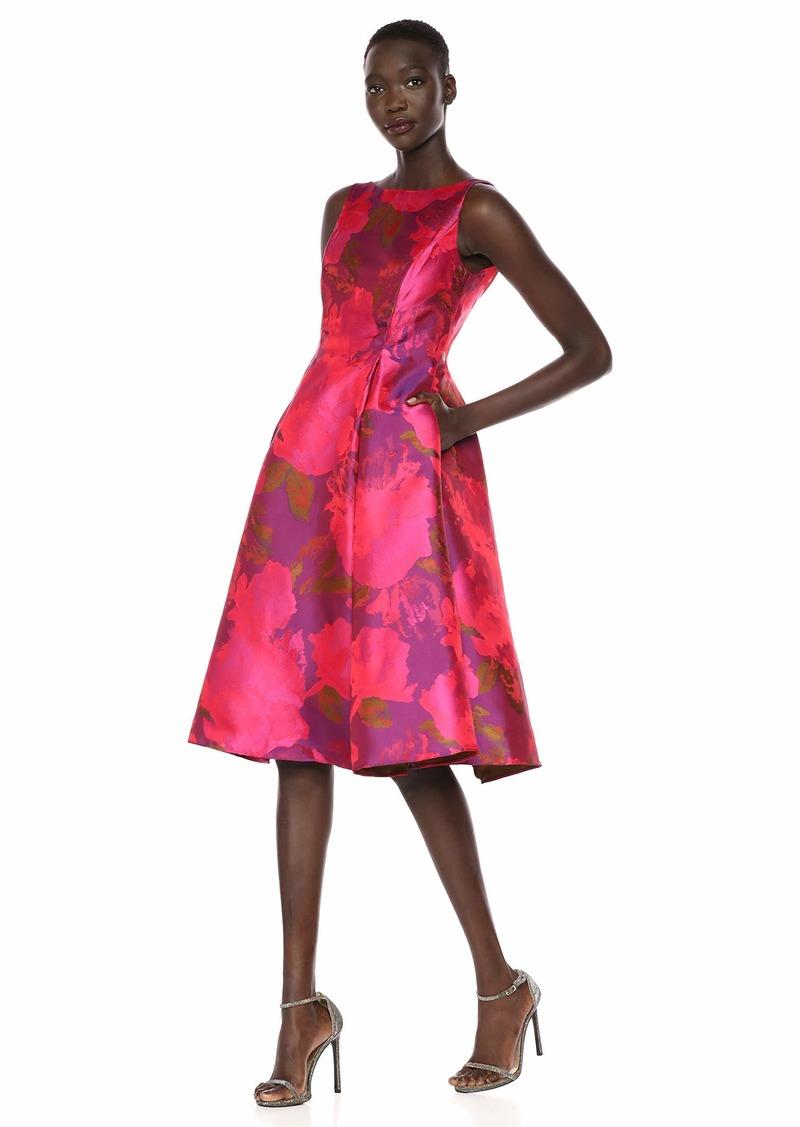 Adrianna Papell Women's Tea Length Jacquard Dress