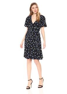 Adrianna Papell Women's Techno Dot Ruffle Dress