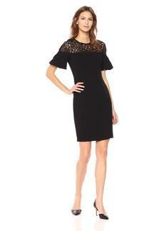 Adrianna Papell Women's Textured Crepe Bubble Sleeve Sheath Dress