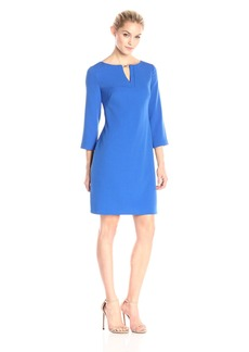 Adrianna Papell Women's Three Quarter Sleeve Crepe Shift Dress