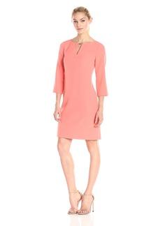 Adrianna Papell Women's Three Quarter Sleeve Crepe Shift Dress