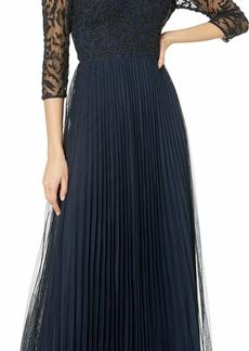 Adrianna Papell Women's Three Quarter Sleeve Pleated Dress
