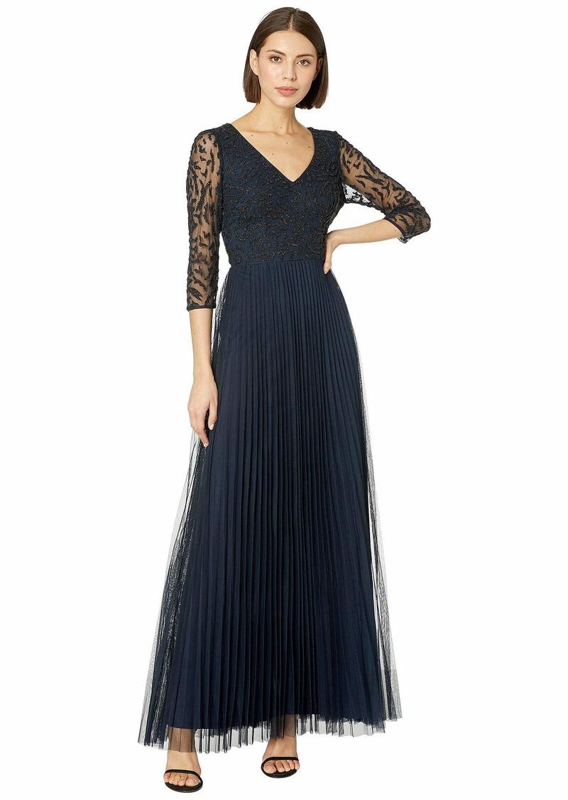 Adrianna Papell Women's Three Quarter Sleeve Pleated Dress