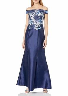 Adrianna Papell Women's Tri Color Lace and Mikado Off The Shoulder Ball Gown