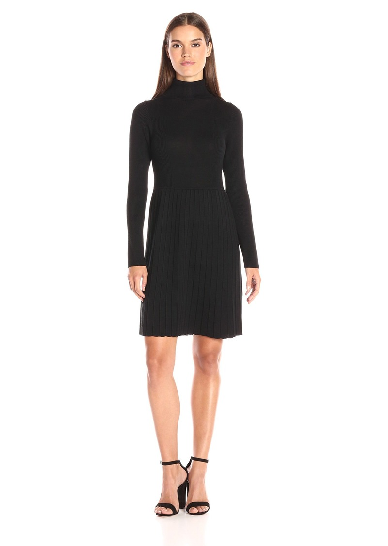 Adrianna Papell Women's Turtle Neck Longsleeve Solid Pleat Dress  Medium