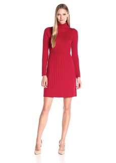 Adrianna Papell Women's Turtle Neck Longsleeve Solid Pleat Dress