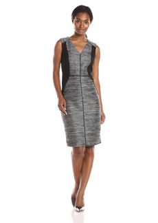 Adrianna Papell Women's Tweed Dress with Ponte Black/Ivory