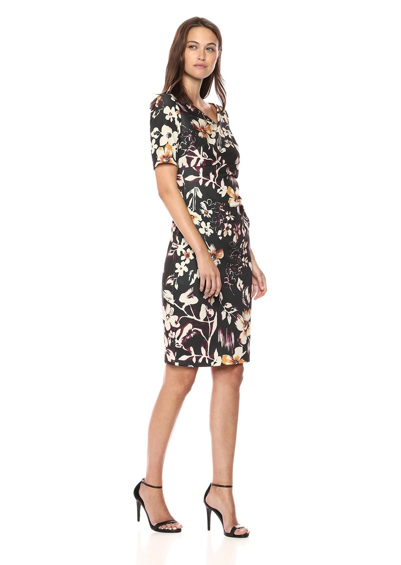Adrianna Papell Women's Twilight Jungle Draped Sheath Dress