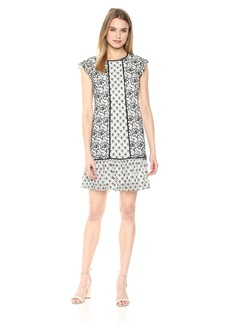 Adrianna Papell Women's Twin Lace Flutter Sleeve Shift
