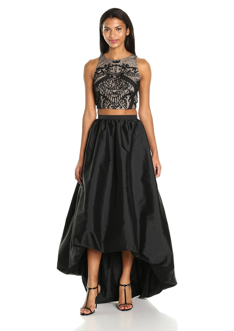 9632cfac Adrianna Papell Split Neck Fit And Flare Dress W Pleated Skirt | Saddha