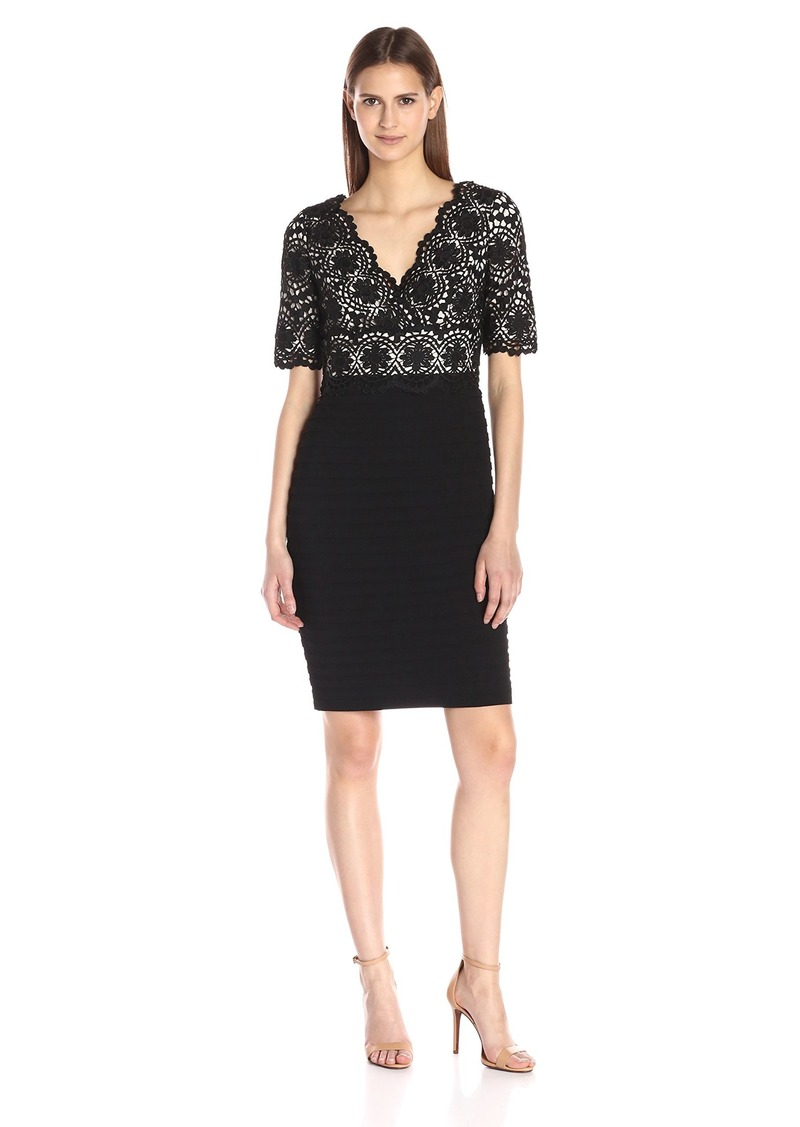 Adrianna Papell Women's Two-Tone Banded Lace Sheath Dress