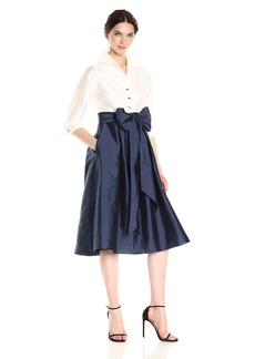 Adrianna Papell Women's Two Tone Silky Taffetta Shirt Dress with Bow Detail