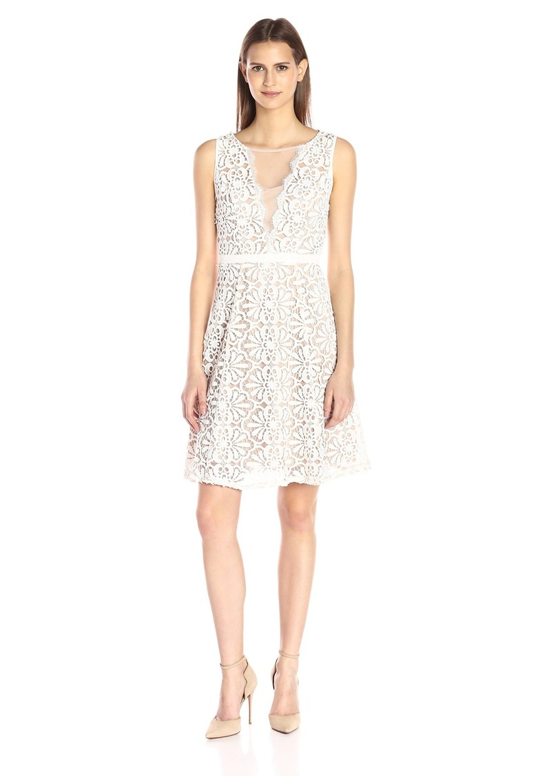 Adrianna Papell Women's V Inset Fit and Flare Dress