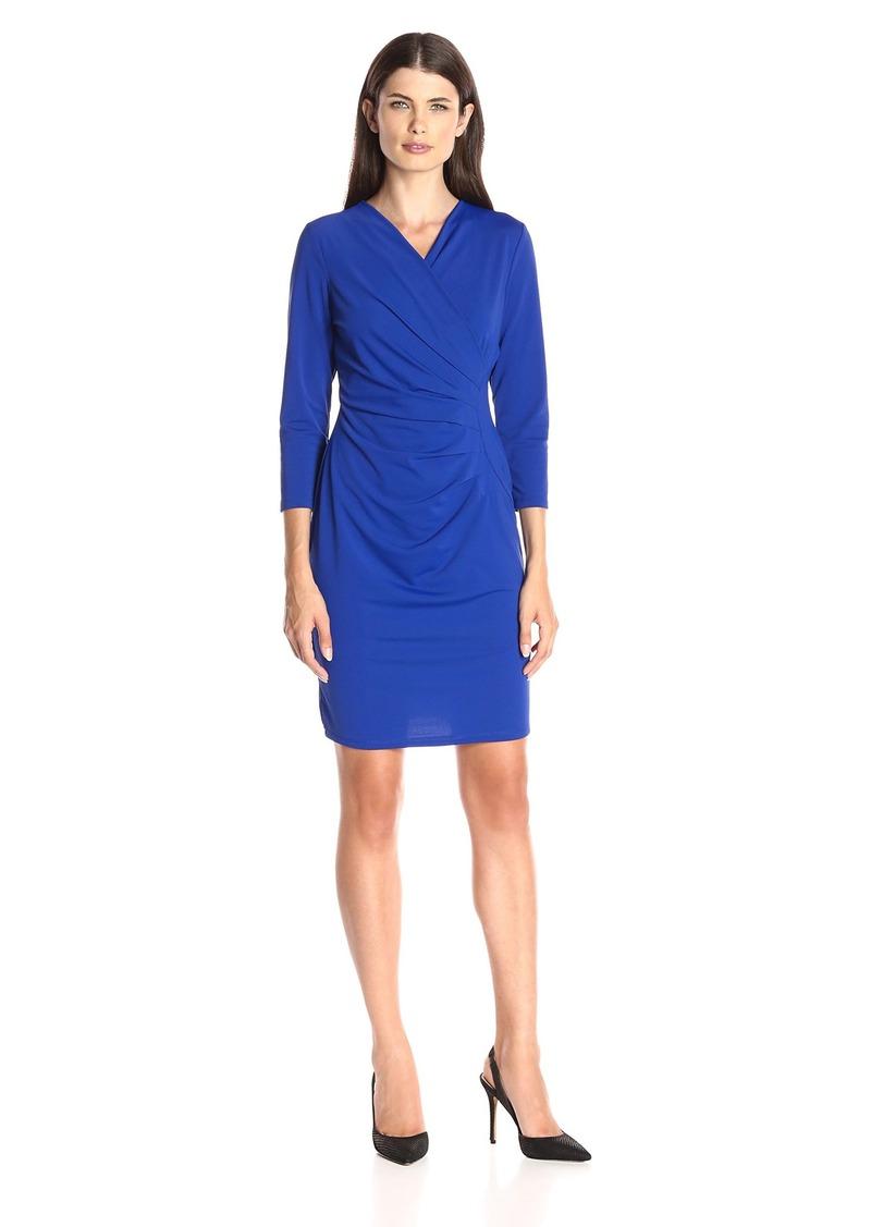 Adrianna Papell Women's V Neck 3/4sleeve Wrap Dress