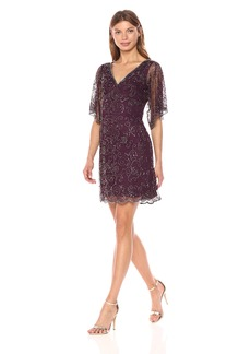 Adrianna Papell Women's V Neck Bat Wing Cocktail Dress
