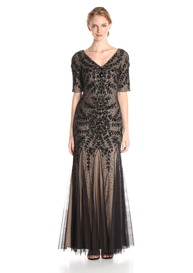 Adrianna Papell Adrianna Papell Women\'s V-Neck Beaded Gown with ...