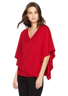 Adrianna Papell Women's V Neck Cape Top