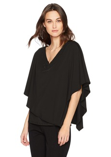 Adrianna Papell Women's V Neck Cape Top  Extra Large
