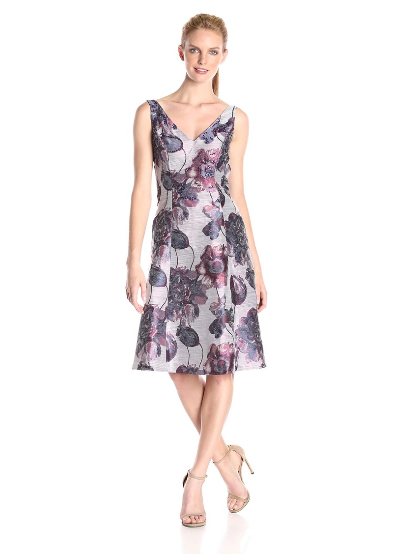Adrianna Papell Women's V-Neck Fit and Flare Dress