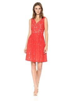Adrianna Papell Women's V-Neck Fit and Flare Lace