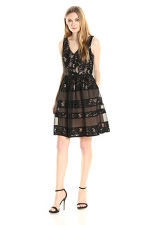 Adrianna Papell Women's V-Neck Fit N Flr with Organza Insert Dress