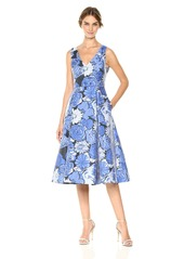 Adrianna Papell Women's V Neck Floral Jacquard Fit and Flare Dress