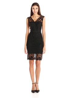 Adrianna Papell Women's V Neck Illusion Hem Lace Sheath Dress