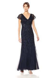 Adrianna Papell Women's V Neck Long Beaded Gown with Short Sleeves