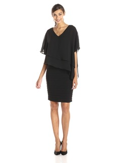 Adrianna Papell Women's V Neck Overlay Banded Dress
