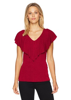 Adrianna Papell Women's V Neck Ruffle Front Sleeveless Top red