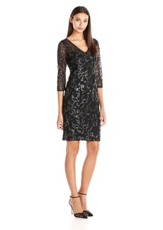 Adrianna Papell Women's V Neck Sequin Sheath Dress with 3/4 Sleeves