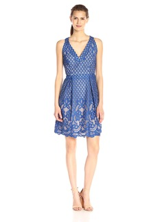 Adrianna Papell Women's V-Neck Halter Lace Fit-and-Flare Dress