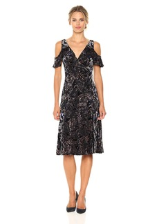 Adrianna Papell Women's Velvet Burnout Midi Dress