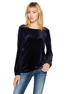 Adrianna Papell Women's Velvet Top with Bow Back & Long Sleeves
