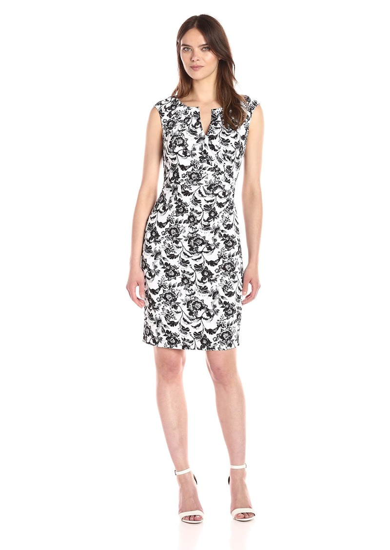 Adrianna Papell Women's Black and White Printed Floral Stretch Cotton Day Dress Ivory