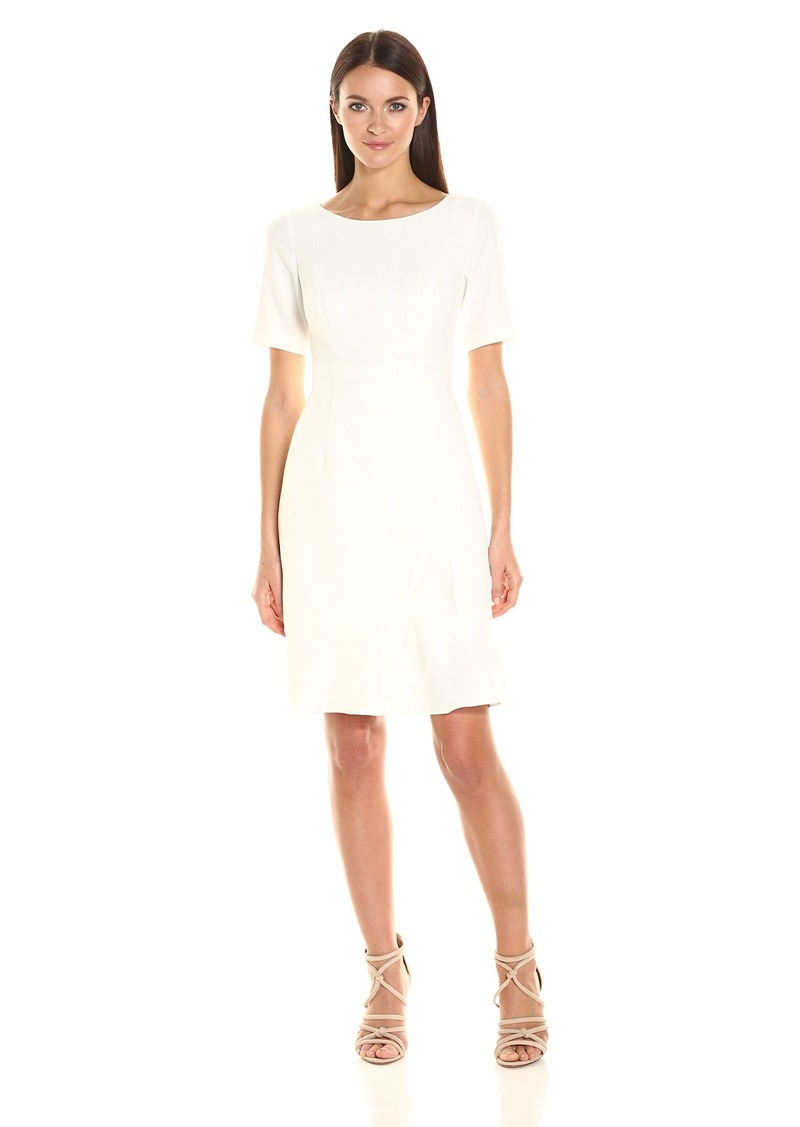 5f3ed523 Adrianna Papell Split Neck Fit And Flare Dress W Pleated Skirt ...