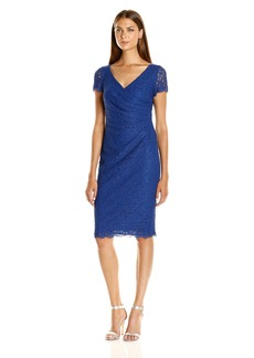 Adrianna Papell Women's Wrap Front Pleated Lace Dress