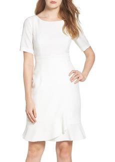 Adrianna Papell Wrap Flounce Hem Sheath Dress