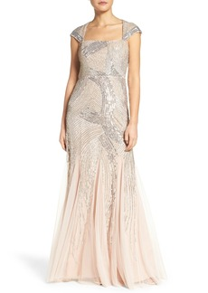 Adrianna PapellEmbellished Mesh Gown (Regular & Petite)