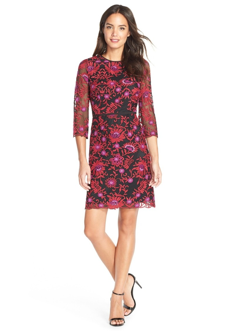Adrianna Papell Adrianna Papell Floral Embroidered Mesh Sheath Dress ...