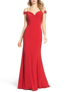 Adrianna Papell Off the Shoulder Jersey Mermaid Gown