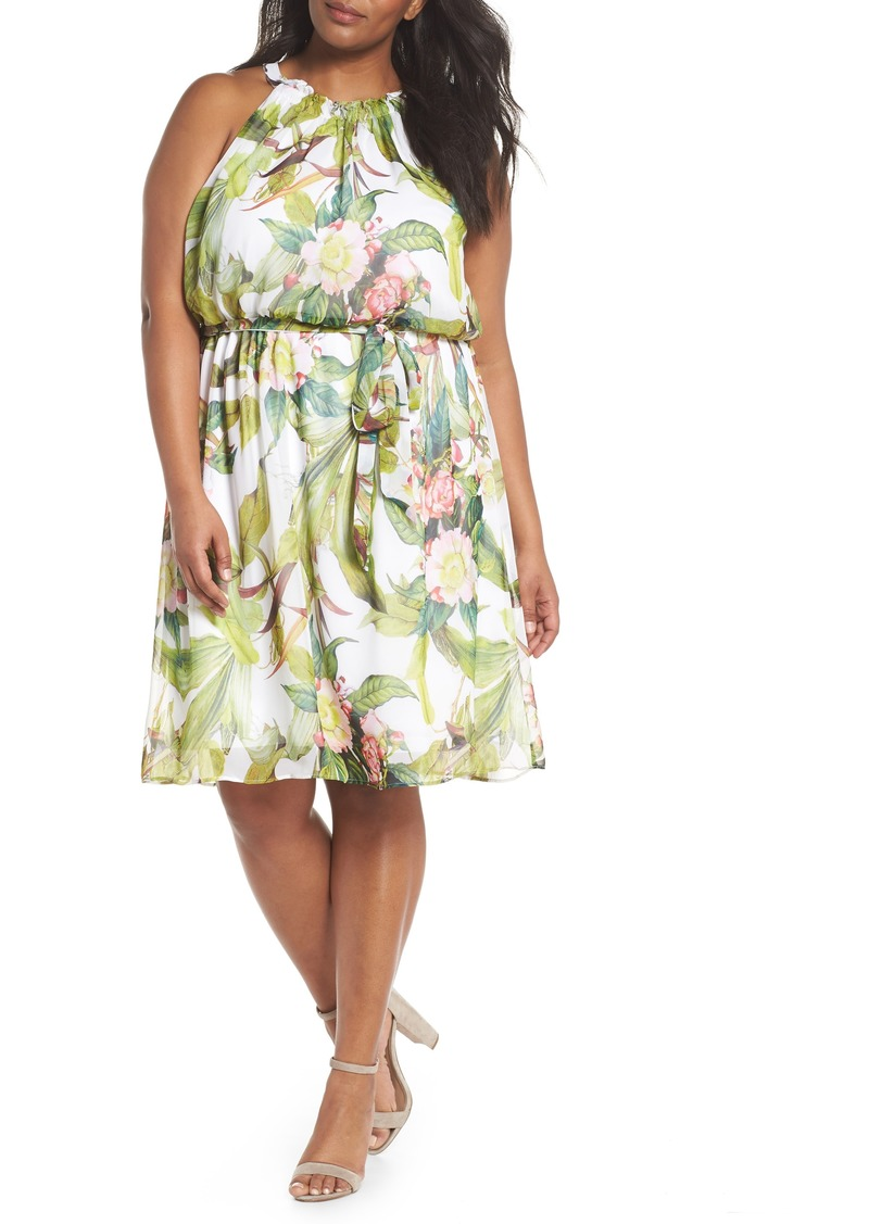 Adrianne Papell Tahitian Tropics Blouson Halter Dress (Plus Size)