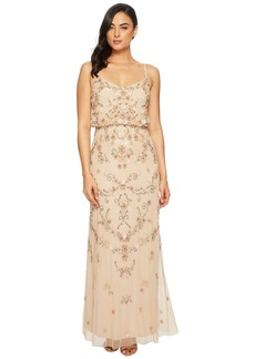Adrianna Papell Antique Bead Blouson Bodice Gown