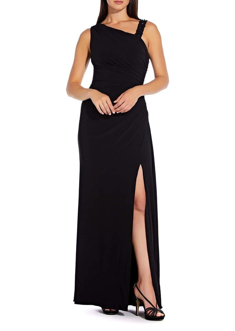 Adrianna Papell Asymmetrical Neck Vent Dress