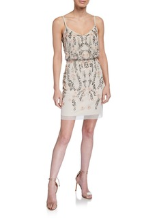 Adrianna Papell Bead & Sequin Embellished Blouson Dress