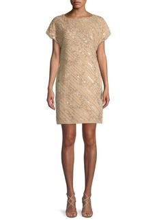 Adrianna Papell Bead & Sequin Short-Sleeve Sheath Dress