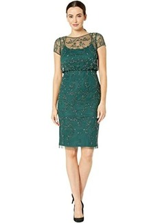Adrianna Papell Beaded Blouson Cocktail Dress