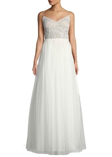 Adrianna Papell Beaded-Bodice Tulle Gown